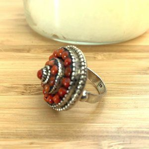 Vintage Red Coral Sterling Silver Statement Ring